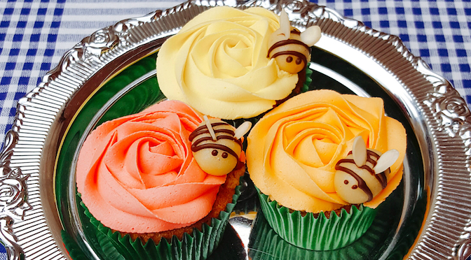 Vanilla Cupcakes with Marzipan Bees